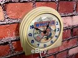 VTG 1950s DECO ADVERTISING TELECHRON VESS-WHISTLE SODA ELF DINER WALL CLOCK SIGN