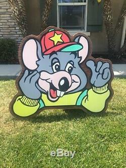 VTG Chuck E. Cheese Showbiz Pizza Thumbs Up CEC Sign Decor HUGE 40 x 37 RARE