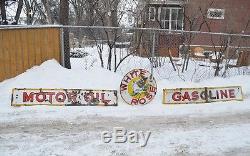 VTG Original 1946 Porcelain 3 Piece White Rose Motor Oil Gasoline Station Sign