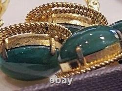 VTG original 1966 signed Christian Dior green cabochon brooch & clip-on earrings