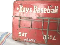 Very Rare Vintage 1950's Boys Baseball Caddy Sign Holds Glove Balls Bat Antique