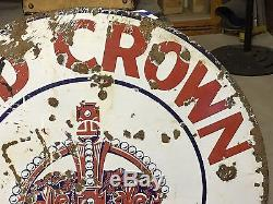 VinTaGe RARE Early RED CROWN GASOLINE Porcelain 42 SIGN OLD DSP Gas Oil Display