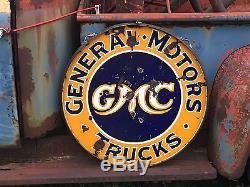 VinTagE Original GMC GENERAL MOTORS TRUCKS Sign in RING Double Sided PORCELAIN