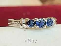 Vintage 10k Gold Blue Sapphire & Diamond Ring Designer Signed Aj Engagement