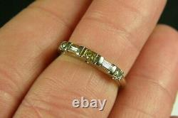 Vintage 14K Solid White Gold Art Deco Diamond Happiness Signed Ring sz. 6