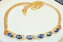 Vintage 14k Gold Blue Sapphire & Diamond Bracelet Designer Signed Aj Made Italy