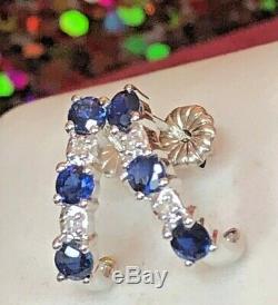 Vintage 14k Gold Blue Sapphire Diamond Earrings J Hook Designer Signed Fina