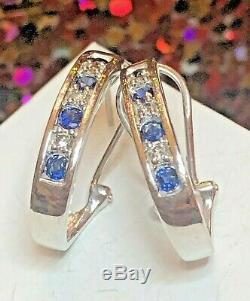 Vintage 14k Gold Blue Sapphire Diamond Earrings Omega French Backs Signed Aj