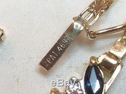 Vintage 14k Gold Blue Sapphire Diamond Necklace Lavaliere Pendant Signed Chevron