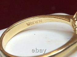 Vintage 14k Gold Blue Sapphire Diamond Ring Engagement Signed N. P. Appraisal