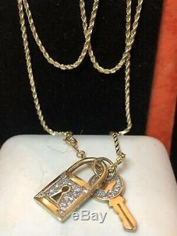 Vintage 14k Gold Chain Necklace Pendant Genuine Diamond 14k Lock Key Signed Or