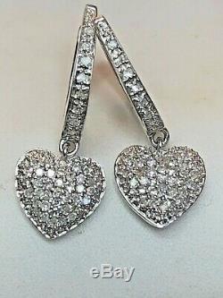 Vintage 14k Gold Diamond Heart Earrings Designer Signed Mmj Pave Set Drop Dangle