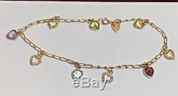 Vintage 14k Gold Gemstone Bracelet Designer Signed Beverly Hills Hearts Charms
