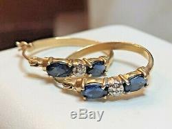 Vintage 14k Gold Genuine Blue Sapphire Diamond Earrings Hoops Wedding Signed Aj