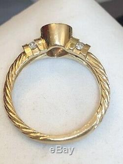 Vintage 14k Gold Genuine Natural Amethyst Diamond Ring Designer Signed Bh Effy
