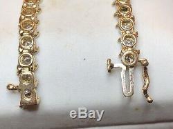 Vintage 14k Gold Genuine Natural Diamond Tennis Bracelet Appraisal Signed Sul