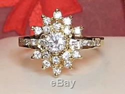 Vintage 14k Gold Genuine Natural High Quality Diamond Ring Signed Fi Engagement