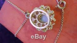 Vintage 14k Gold Genuine Natural Opal Pendant Necklace Designer Signed Nyco