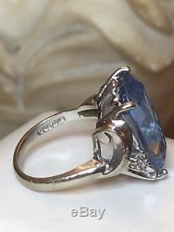 Vintage 14k Gold Genuine Sky Blue Topaz & Diamond Ring Designer Signed Bulard