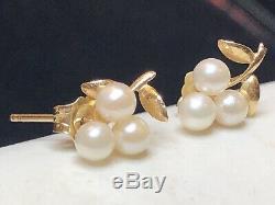 Vintage 14k Gold Grape Cultured Pearl Earrings Wedding Bridal Signed Tc Stud