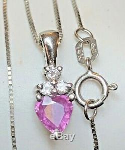 Vintage 14k Gold Natural Pink Sapphire Heart Diamond Pendant Signed Bita Effy