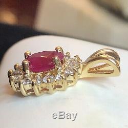 Vintage 14k Gold Natural Ruby Diamond Pendant Designer Signed Bh Effy Appraisal