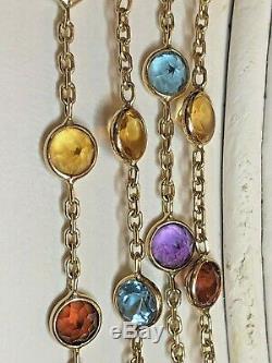 Vintage 14k Gold Necklace Gemstone Station Signed Avm Garnet Citrine Topaz