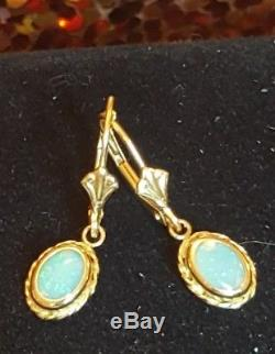Vintage 14k Gold Opal Gemstone Earrings Drop Dangle Designer Signed VD Victorian
