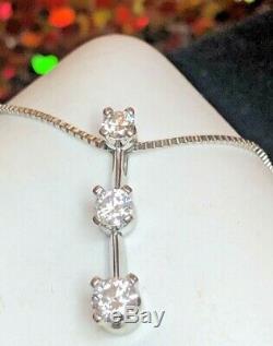 Vintage 14k White Gold Natural Diamond Necklace Pendant Signed Naj Appraisal