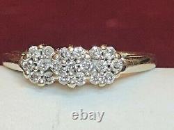Vintage 14k White Gold Natural Diamond Ring Triple Halo Engagement Signed Jst
