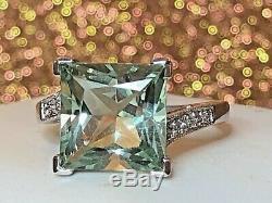 Vintage 14k White Gold Rare Prasiolite Diamond Gemstone Ring Engagement Signed