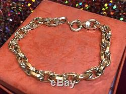 Vintage 14k Yellow Gold Oval Chain Bracelet Designer Signed Milor Made Italy