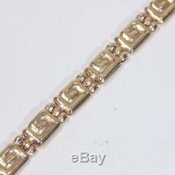Vintage 14k yellow gold Greek key design bracelet, 7.5 long x 4 mm, signed L'do