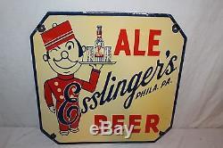 Vintage 1930's Esslinger's Ale & Beer 20 Philadelphia Porcelain Metal Sign