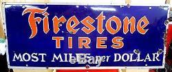 Vintage 1930's Firestone Tires Gas Oil 48 Porcelain Metal Sign