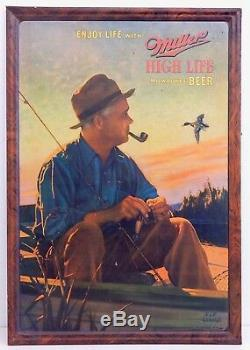 Vintage 1930's Miller High Life Tin Litho Self Frame Sign by JF Kernan RARE