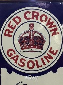 Vintage 1930's Polaraine Red Crown Porcelain Gasoline Sign With Thermometer