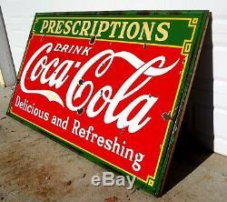 Vintage 1933 Original Porcelain Prescriptions Coke Sign Coca Cola 30's WILL SHIP