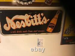 Vintage 1940's Nesbitt's Orange Soda Pop Gas Station 28 Embossed Metal Sign