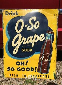 Vintage 1940's O-So Grape Soda Pop Gas Station 25 Embossed Metal Sign