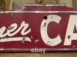 Vintage 1940s Barn Find Red & White Corner Cafe Neon Outdoor Business Sign