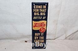 Vintage 1940s Pepsi Cola 5c Bottle Double Dot Soda Pop Door Push Metal SignNice