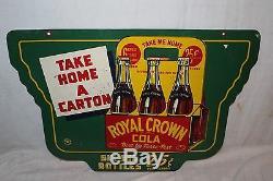Vintage 1942 RC Royal Crown Cola 25c Carton Soda Pop 2 Sided 24 Metal Sign