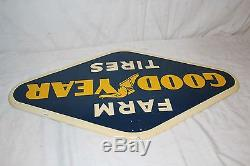 Vintage 1950's Goodyear Farm Tires Tractor Tire Gas Oil 28 Metal Sign