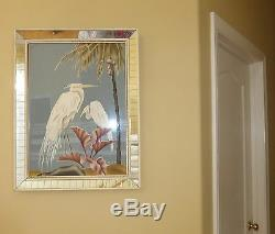 Vintage 1950's Retro Heron Egrets Picture by Turner Wall Mirror 25x20 Flamingo