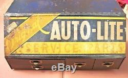 Vintage 1950s 60s Autolite Service Parts Gas Oil Dealer Counter Top Cabinet Sign