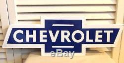 Vintage 1950s Chevrolet Bowtie Porcelain Sign Amazing Original GM Car Dealer WOW