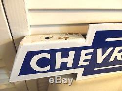 Vintage 1950s Sign Chevrolet Bowtie Porcelain Amazing Original GM Car Dealer WOW