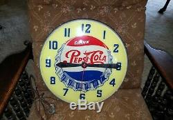 Vintage 1950s Swihart Lighted Pepsi Cola Advertising Wall Clock WORKING sign