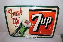 Vintage 1953 7Up 7 Up Fresh Up Soda Pop Bottle 27 Embossed Metal Sign